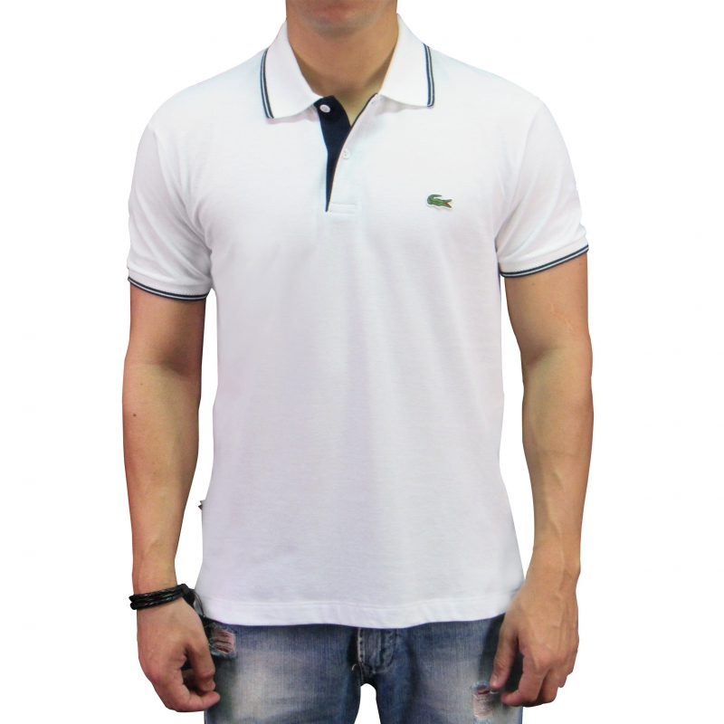 Camiseta Polo Lacoste Live Slim Fit Branca   Men s Mall - Moda ... 19bf7e3cb2