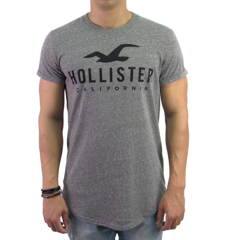 Camiseta Hollister Long Cinza  bfd8f612dccd8