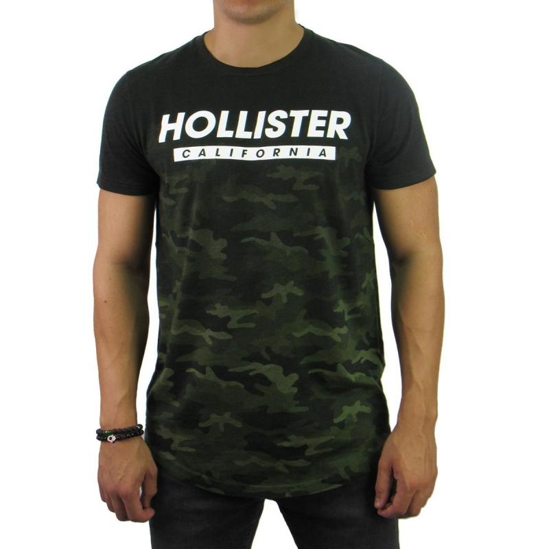 964ad1963 Camiseta Hollister Long Camuflada Verde